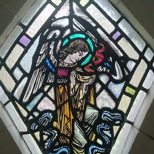 Church Stained Glass Panel Installation